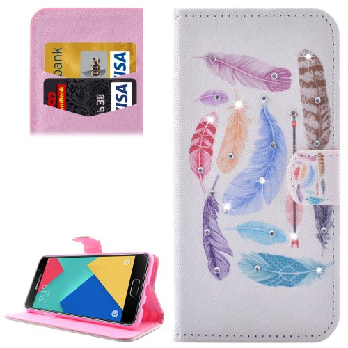For Galaxy A7(2016) Feathers Diamond Flip Leather Case with Holder, Card Slots & Wallet