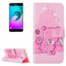 For Galaxy A7(2016) Bear Pattern Leather Case with Holder, Card Slots & Wallet