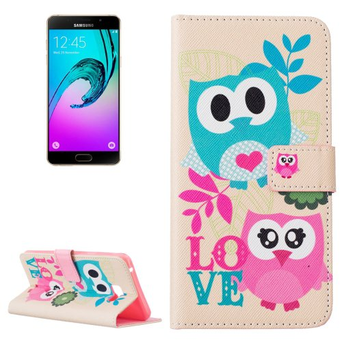 For Galaxy A7(2016) Owls Love Pattern Leather Case with Holder, Card Slots & Wallet