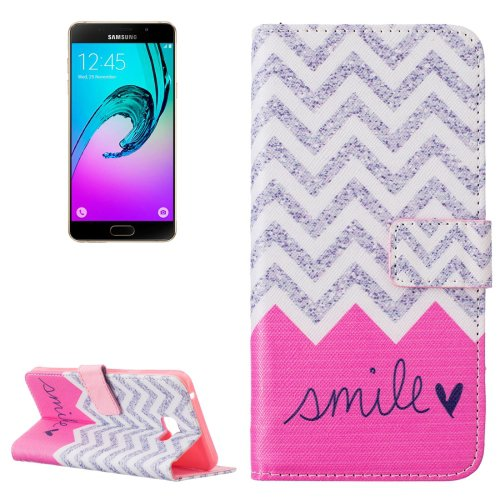 For Galaxy A7(2016) Smile Pattern Leather Case with Holder, Card Slots & Wallet