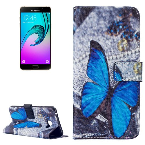 For Galaxy A7(2016) Butterfly Pattern Leather Case with Holder, Card Slots & Wallet