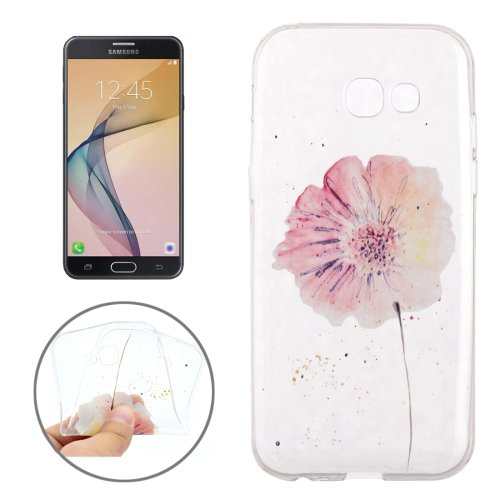 For Galaxy J7 (2017) Flower Pattern Soft TPU Protective Back Cover Case