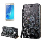 For Galaxy J7 (2017) 3D Relief Skull Flip Leather Case with Holder, Card Slots & Lanyard