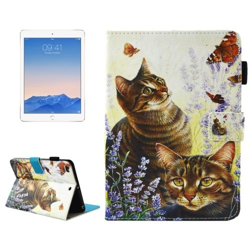 For iPad 9.7 inch 2017 Cats Smart Cover Leather Case with Holder, Wallet & Card/Pen Slots