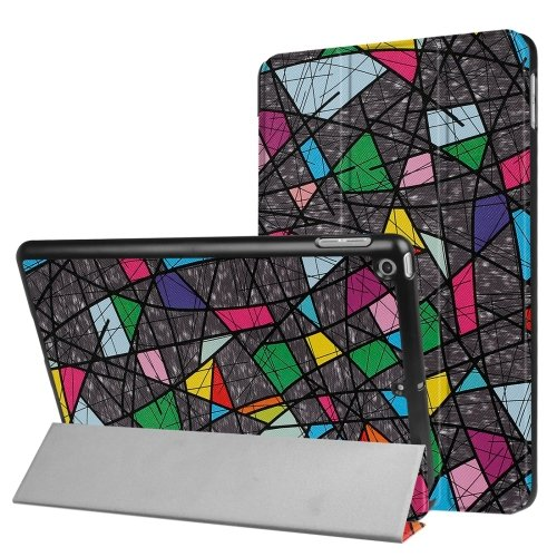 For iPad 9.7 inch 2017 Cross Texture Polygonal Pattern Leather Case with 3 Folding Holder