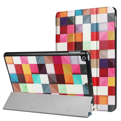 For iPad 9.7 inch 2017 Cross Texture Colorful Box Pattern Leather Case with 3 Folding Holder