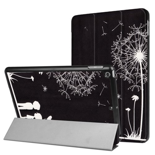 For iPad 9.7 inch 2017 Cross Texture Dandelion Pattern Leather Case with 3 Folding Holder