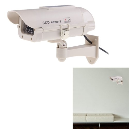 Realistic Looking Solar Powered Dummy Security CCTV Camera with Flashing Red LED