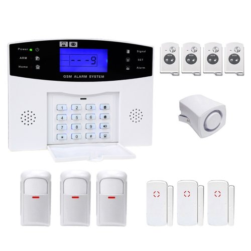 12 in 1 Kit Wireless 433MHz GSM SMS Security Home House Burglar Alarm System with LCD Screen