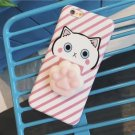 For iPhone 6 + & 6s + 3D Pink Cat Squeeze Relief IMD Squishy Back Cover Case