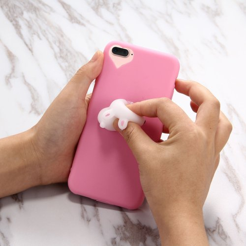 For iPhone 7 Plus 3D Magenta Rabbit Squeeze Relief Squishy Drop proof Back Cover Case