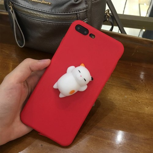For iPhone 7 Plus 3D Red Cat Squeeze Relief Squishy Drop proof Back Cover Case