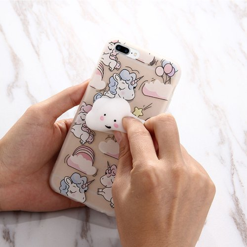 For iPhone 7 Plus Unicorn Cartoon Squeeze Relief Squishy Back Cover Case