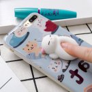 For iPhone 7 Plus Cat Cartoon Pattern Squeeze Relief IMD Workmanship Squishy Back Cover Case