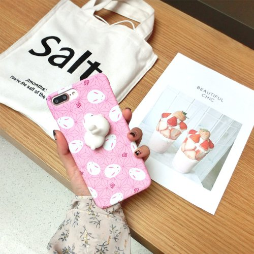 For iPhone 7 Plus Rabbit Cartoon Pattern Squeeze Relief IMD Workmanship Squishy Back Cover Case