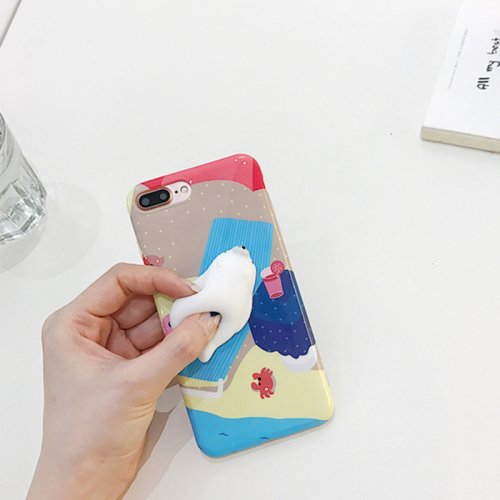 For iPhone 7 Plus Seal Bask In The Sun Squishy Protective Back Cover Case