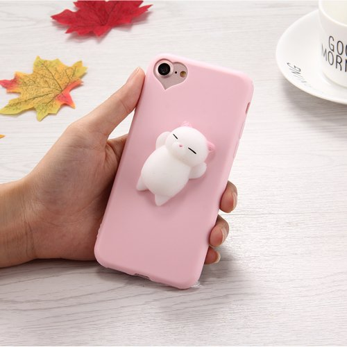 For iPhone 7 3D Bear Pink Ears Pattern Squeeze Relief Squishy Drop proof Back Cover Case