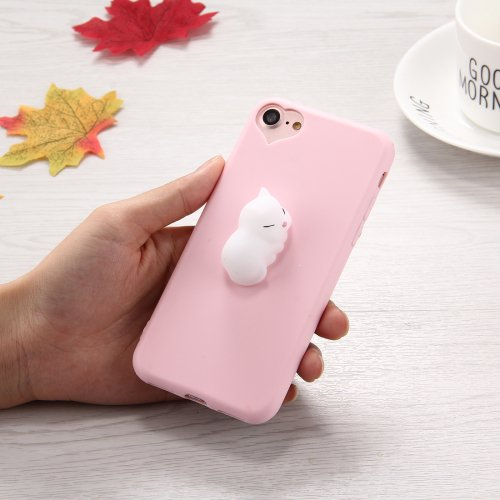 For iPhone 7 3D White Cat Pattern Squeeze Relief Squishy Drop proof Back Cover Case