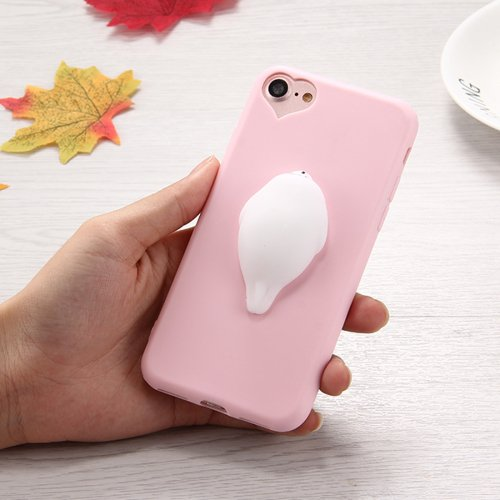 For iPhone 7 3D White Sea Lions Pattern Squeeze Relief Squishy Drop proof Back Cover Case