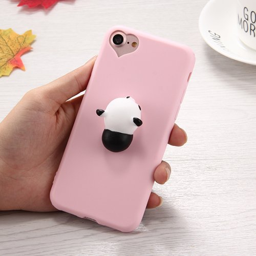 For iPhone 7 3D Panda Pattern Squeeze Relief Squishy Drop proof Back Cover Case