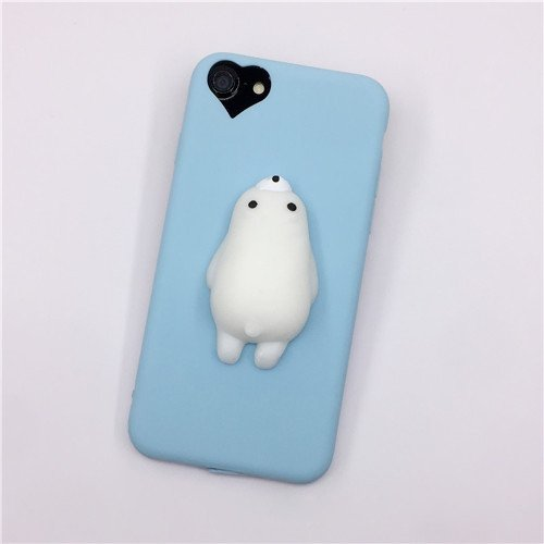 For iPhone 7 3D Blue Bear Pattern Squeeze Relief TPU Squishy Back Cover Case