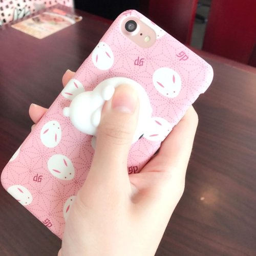 For iPhone 7 3D Rabbit Cartoon Pattern IMD Workmanship Squishy Back Cover Case