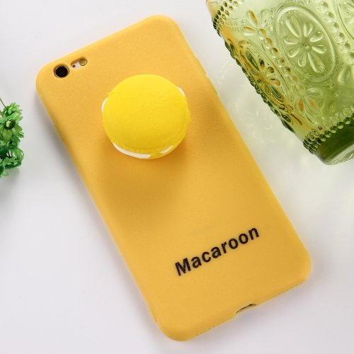 For iPhone 7 Yellow Macaroon Pattern Squeeze Rebound Squishy Drop proof Back Cover Case