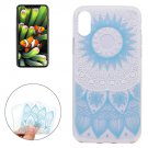 For iPhone 8 Blue Flower Pattern TPU Protective Case