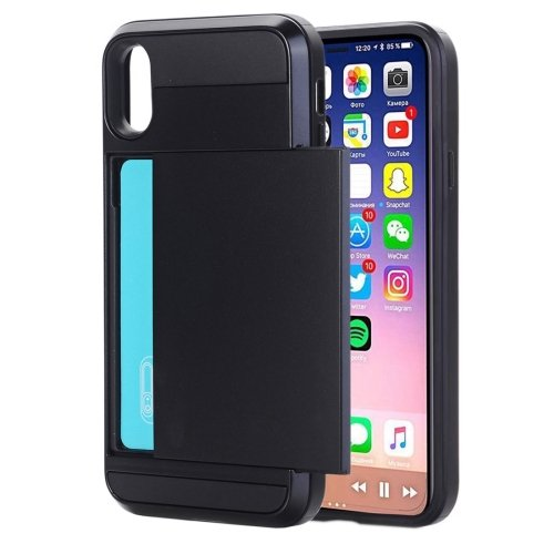 For iPhone 8 Detachable TPU + PC Protective Back Cover Case with Card Slot - 14 colors