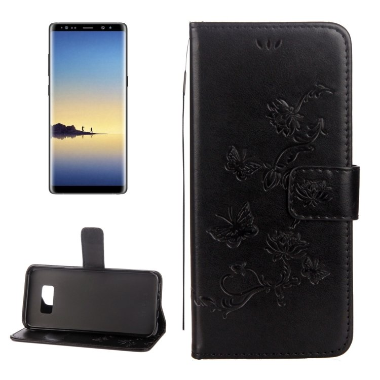 For Galaxy Note 8 Butterfly Leather Case with Holder, Card Slots, Frame & Wallet - 8 colors