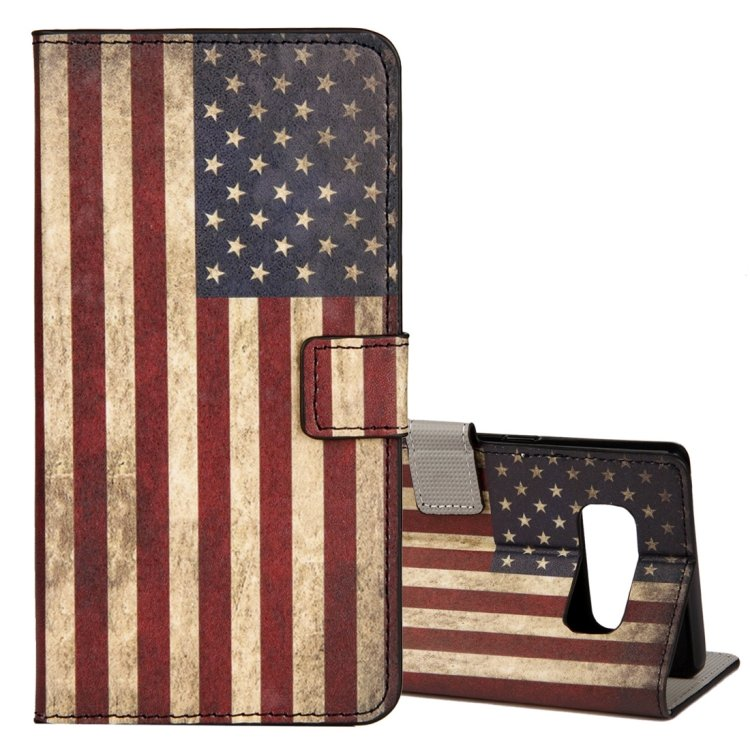For Galaxy Note 8 US Flag Pattern Leather Case with Holder, Card Slots & Wallet