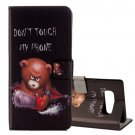 For Galaxy Note 8 Bear Pattern Leather Case with Holder, Card Slots & Wallet
