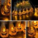 7.5M 30 LED Solar Energy Pumpkin String Lights Halloween Party Orange Color