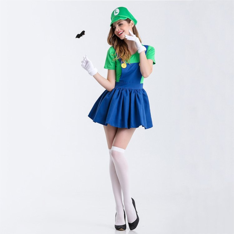 Halloween Green Mary Stage Dress Cosplay Costume Outfit Dress Skirt, Size:M