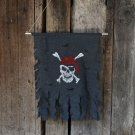 Halloween Decoration Jolly Roger Skull Banner Pirate Flag Party Supplies, Small Size