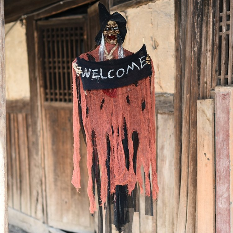 Halloween Hang Ghost Resin Electric Skull Bar Door Welcome Ghost Voice Skeleton Props