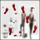 Halloween Festive Atmosphere Horrible Bloody Footprints DIY Wall Static Sticker
