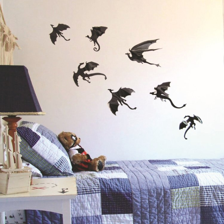 3 Set Creative 3D Dragon Wall Stickers Halloween Living Room Bedroom Decoration