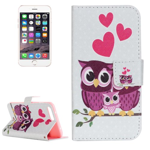 For iPhone 8+&7+ Owl Family Leather Case with Holder, Card Slots & Wallet
