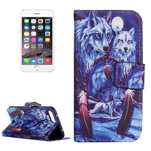 For iPhone 8+&7+ Wolves Leather Case with Holder, Card Slots & Wallet