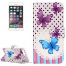 For iPhone 8+&7+ Purple Butterfly Leather Case with Holder, Card Slots & Wallet