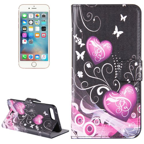 For iPhone 8+&7+ Butterflies Leather Case with Holder, Card Slots & Wallet