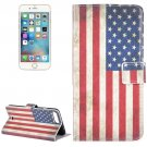 For iPhone 8+&7+ US Flag Leather Case with Holder, Card Slots & Wallet