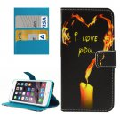 For iPhone 8+&7+ Heart-shaped Leather Case with Holder, Card Slots & Wallet