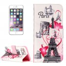 For iPhone 8+&7+ Paris Pattern Leather Case with Holder, Card Slots & Wallet