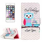 For iPhone 8+&7+ Owl Pattern Leather Case with Holder, Card Slots & Wallet