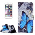 For iPhone 8+&7+ Butterfly Pattern Leather Case with Holder, Card Slots & Wallet