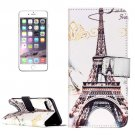For iPhone 8+&7+ Eiffel Tr Pattern Leather Case with Holder, Card Slots & Wallet