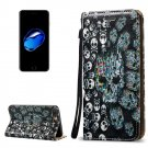 For iPhone 8+&7+ 3D Relief Skull Leather Case with Holder, Card Slots & Lanyard