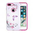 For iPhone 8+ & 7+ Butterfly Flower Pattern TPU + PC Relief Combination Case